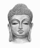 Head Smiling Buddha. Hand drawn monochrome Isolated Buddha head, which is in deep meditation executed in watercolor Royalty Free Stock Photo