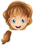 A head of a smiling girl. Illustration of a head of a smiling girl on a white background Royalty Free Stock Images