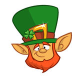 Head of a smiling leprechaun, the symbol of St. Patrick's day. Vector illustration Royalty Free Stock Photo