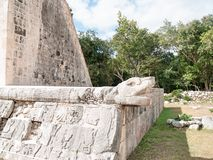 Head of snake.  Chichen Itza. Detail of head of snake, one side of the ball game. (Juego de Pelota) ruins at the Mayan city of Chichen Itza, Mexico Royalty Free Stock Photo