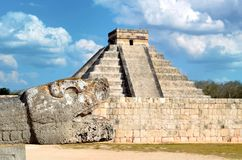 The head of the snake in Chichen Itza, Mexico Royalty Free Stock Image