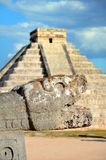 The head of the snake in Chichen Itza, Mexico Royalty Free Stock Photography