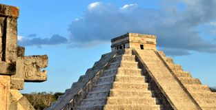 The head of the snake in Chichen Itza Stock Images
