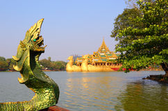 Head of snake Karaweik in Yangon Royalty Free Stock Photo