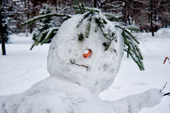 Head of a snowman. The first snow dropped out and children constructed a snowman Royalty Free Stock Photos