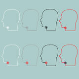 Head with sore throat icon. Head with sore throat icon set Royalty Free Stock Images