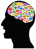 Head with Speech Bubbles. Human head with Speech Bubbles in brain Stock Images