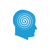 Head with spiral logo symbol. Minimalistic illustration of head and spiral that can be used as logo symbol or as isolated design element Royalty Free Stock Photography