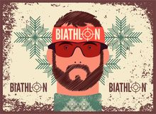 The head of the sportsman. Biathlon typographical vintage grunge style poster. Retro vector illustration. Stock Image