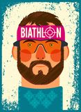The head of the sportsman. Biathlon typographical vintage grunge style poster. Retro vector illustration. Stock Photos