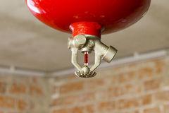 HEAD SPRINKLER EXTINGUISHER FIRE. IN THE BOILER ROOM stock photography