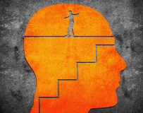 Head with staircase and tightrope. Walker digital illustration Royalty Free Stock Photography