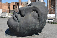 Head of Statue, Pompeii Archaeological Site, nr Mount Vesuvius, Italy Royalty Free Stock Photos
