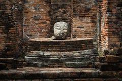 Head staty för Buddha i forntida tempel Royaltyfria Bilder