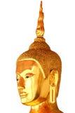 Head staty för Buddha som isoleras på vit bakgrund Arkivfoto