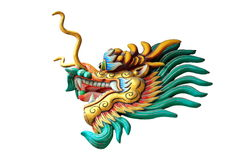 head staty för drake som isoleras på vit bakgrund Arkivbilder