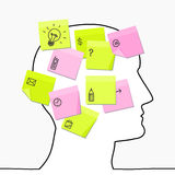 Head & sticky notes Royalty Free Stock Image