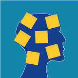 Head and Sticky Notes. Profile of a human head covered with yellow sticky notes and copy space for text Stock Images