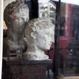 Head still life in interior, classic antique sculpture object fo Stock Photo