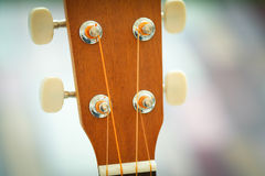 Head stock of wood guitar Stock Photos