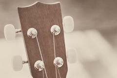Head stock of wood guitar Stock Images