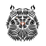 The head of a strong bear, drawn by smooth lines vector illustration