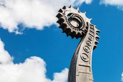 Head of a sun on the front of the Viking ship Drakkar Stock Images