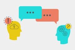 Head symboler med anförande bubblar, begreppet av klientservice Arkivfoto