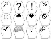 Head symboler med idésymboler Vektor Illustrationer