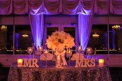 Head Table at a Beautiful Winter Wedding.  Stock Photos