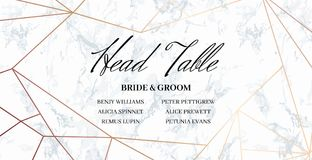 Head Table Bride and groom template card. Head Table Bride and groom wedding template card of geometric design. White marble and rose gold geometric pattern Stock Photos