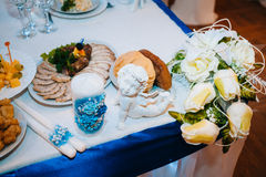 Head table for newlyweds at the wedding hall. Head table for the newlyweds at the wedding hall Royalty Free Stock Images