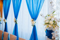 Head table for newlyweds at the wedding hall. Head table for the newlyweds at the wedding hall Royalty Free Stock Photography