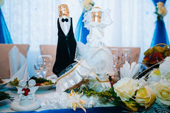 Head table for newlyweds at the wedding hall. Head table for the newlyweds at the wedding hall Stock Photo