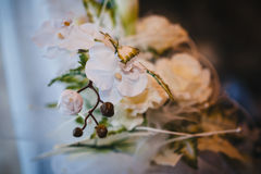 Head table for newlyweds at the wedding hall Royalty Free Stock Photography