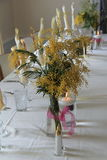 Head table set with vases of Mimosa flowers Royalty Free Stock Photos