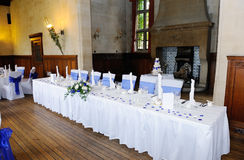 Head table at wedding reception. With blue and white decoration Royalty Free Stock Photography