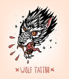 Head of Tearing Wolf in the style of Traditional tattoo. Old school. Stock Photos