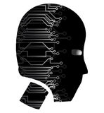 Head tech. Human head with wiring technology Stock Photography