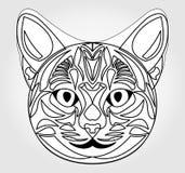 Head teckning för katt Symbol av solguden Egyptiskt mytologisymbol royaltyfri illustrationer