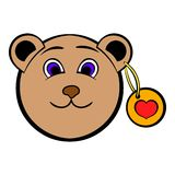 Head of a teddy bear with a heart label icon Stock Photography