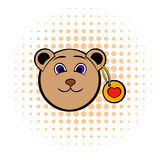 Head of a teddy bear with a heart label icon Royalty Free Stock Photo