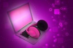 Head telefon med bärbara datorn Royaltyfri Bild