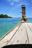 Head of thai boat sea traveling on sunshine day Royalty Free Stock Photography