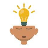 Head thinking bulb idea innovation design Royalty Free Stock Image