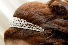 Head Tiara. A brunette bride with a beaded tiara Royalty Free Stock Images