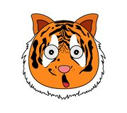 Head of tiger in cartoon style. Kawaii animal. royalty free illustration