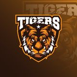 Head tiger mascot logo design vector with badge emblem concept. For sport, esport and team stock illustration