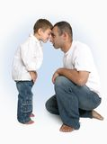 Head to Head. Father and son head to head Royalty Free Stock Images