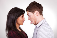 Head to head couple making faces Royalty Free Stock Photography